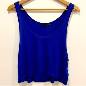 Aritzia Talula Cropped Oversized Tank Top Blue